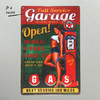 DL- Garage Open GAS Wall plaque Metal Sign Word Art antique t...