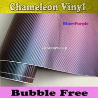 Синий и фиолетовый Хамелеон 3D углеродного волокна винил с воздушным пузырем бесплатно для автомобиля винил обертывание размер 1.52x30M 4.98x98ft
