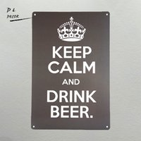 DL- Keep CALM and Drink Beer metal poster Art wall decor Vin...