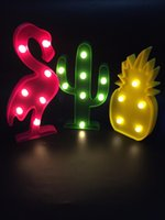 Meaningsfull Cute Flamingo Led Night Light Marquee Sign Lampada da parete Cactus ananas per bambini regalo del bambino Home Room Decor