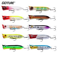 Goture 10Pcs Floating Poppers Lures Fishing 8Cm 11.6G # 6 Treble Hook Crankbaits для рыбалки Bass Pike Walleye Fake Lures Fishing