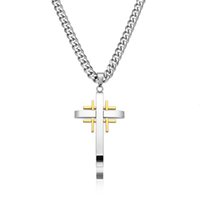 Male Stainless Steel Necklace Tic Tac Toe Cross Pendant with Heavy Curb Chain
