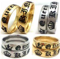 Groothandel 50 stks goud zilver mix trouwringen voor minnaar zijn koningin en haar koning roestvrij stalen koning en koningin ringen verlovingsfeest sieraden