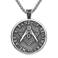 Retro argento Antique Black Square Compass Bussola Acciaio inossidabile Freemasons Masonic Pendant Regali con parole Siamo una banda di fratelli