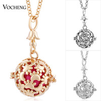 VOCHENG Pregnancy Ball Pawprint Cage Necklace 3 Colors Plati...