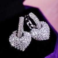 925 فضة كريستال نمساوي أقراط شكل قلب أقراط للنساء الزركون أقراط مجوهرات الزفاف