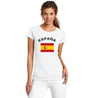 إسبانيا Nationa Flag مطبوعة كأس الاتحاد الأوروبي لكرة القدم أسبانيا عدد المعجبين يهتف المرأة تي شيرت اللياقة البدنية الصالة الرياضية الصيف تي شيرت للإناث
