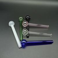 Glasölbrennerleitung 6 Farben Günstige Mini 10cm Rauch Wasserleitung Bubbler Glasrohr Öl Brennen Rohr Kostenloser Versand nach AU / US