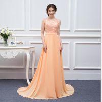 Freies Verschiffen langes Chiffon- Abschlussball-Kleid-Pfirsich-Qualitäts-Spitze Backless reizvolles formales Abschlussball-Kleid Vestidos De Real Photo