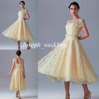 2019 новое поступление шампанского платья невесты с короткими рукавами кружева дешевые пляжные невест горничные платье женщин бесплатная доставка BD224