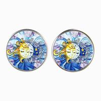 Netter Sun und Crescent Moon Ohrstecker Ohrring für Frauen, Sterne Ohrring, Tag und Nacht Schmuck, Glas Cabochon, Versilberung