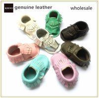 Genuine leather soft sole baby moccasin sandals handmade bab...