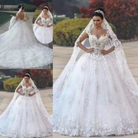 Luxurious Sweetheart Neck A- line Wedding Dresses Court Train...