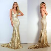2019 Sexy Criss Cross Backless Bling Meerjungfrau Ballkleider V-ausschnitt Gold Pailletten Lange Abendkleid Party Kleider