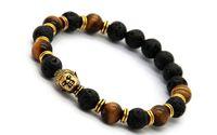 Vendita calda pietra lavica perline Buddha Bracciali uomo, oro, nastro e Bronez Buddha, braccialetto nero Yoga, unisex
