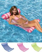 물 해먹 스트라이프 Lounger 풀 플로트 팽창 식 공기 매트리스 수영장 장비 수영 야외 열화품 편리한 라이트 액세서리