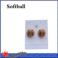 Orecchini softball con strass cristallo strass argento Bling giallo orecchini Fastpitch