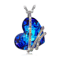 New Classic Blue Crystal Love Hearts Pendant Necklace For Wo...