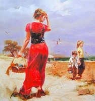 Framed Free Ship, SEASIDE GATHERING by Pino Daeni, Pure Hand p...