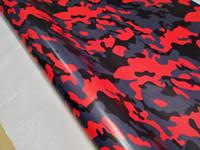 Vinile rosso nero grigio neve Camo per l'involucro dell'auto con adesivi a rilascio d'aria lucidi / opaco camouflage Grafica per camion autoadesivo 1.52X30M (5x98ft)