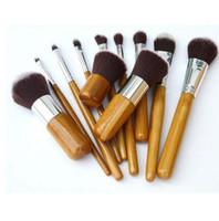 Наборы кистей для макияжа из бамбука 11 шт. Профессиональная косметика для макияжа Maquiagem Concealer Наборы косметических кисточек для рисования String bag DHL Ship!
