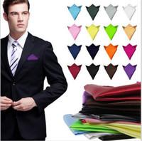 35 Color Fashion Chic Uomo Abiti formali Plain Solid Satin Pocket Square Fazzoletto Wedding Party Gentlemen Men Hanky