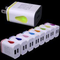 Light Up goccia d'acqua a doppio LED Porte USB corsa della casa Power Adapter 5V 2.1A + 1A AC US caricatore della parete di iPhone Samsung HTC LG Tablet EU Plug