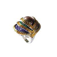 Anneaux de cocktail bijoux de haute qualité pour les femmes émail anneau des yeux coquille naturelle perle anneaux bijoux anneaux anciens | RN-386B