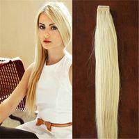 Verwendung von Menschenhaar 100g 40 Teile / los Blonde Brasilianische Jungfrau Remy Haut Einschlagband Adhesive Haarverlängerungen Produkte Band Haarverlängerungen