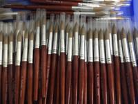 Spazzola per unghie acrilica rotonda Sharp 12 # 14 # 16 # 18 # 20 # 22 # 24 Penna sable di alta qualità Kolinsky con manico in legno rosso per pittura professionale manicure salone