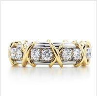 T Marke x Form Sona synthetischer Diamant Stallone Ring Herz und Pfeile Eingriff oder Hochzeit echter Sterlingsilber Platin überzogener Ring für