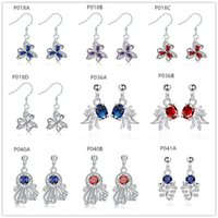 Sterling Silber Überzogene Baumeler Kronleuchter Ohrringe GTP6 Mode Frauen Edelstein 925 Silber Ohrring 10 Paar Mixed Style