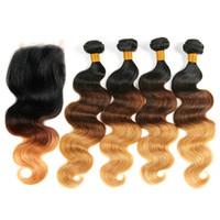 OMBRE CUERPO onda 3 piezas Paquetes de cabello humano con cierre Tres tonos coloreados ondulados tejidos indios y cierres de encaje 1b / 4/27