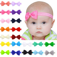 Newborn Baby Solid Headbands Bows Girls Grosgrain Ribbon 14i...