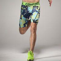 Atacado-Camo Compressão Running Men Shorts Absorvente roupa interior de secagem rápida respirável ao ar livre collants esportes basquete fitness treinamento