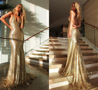 Sexy Gold Sequins Mermaid Prom Dresses 2016 Backless Halter ...
