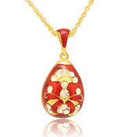 European Handcrafted Enamel Faberge Egg Charms with Crystal for Russian Egg Pendant Easter Pendant Necklace
