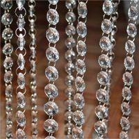 50 m / grup Şeffaf Akrilik Kristal Sekizgen Boncuk Perde Garland Tellerinin DIY Craft Düğün Parti Malzemeleri için Asılı Süsleme