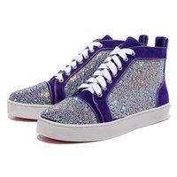Party Dress Wedding High Top Sneakers Shoes Rhinestone Genui...
