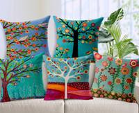 180g Baumwolle Leinen Kissenbezug Handgemalte Ölgemälde Landschaft Grüne Bäume Blumen Vogel Kissenbezug Home Decor Sofa Kissenbezug 17,7 Zoll