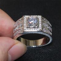 925 Sterling Silver Round Gemstone Diamant Simulé Zircon Côté ton anneaux de Fiançailles Bande De Mariage Bijoux pour Hommes SZ 7-13