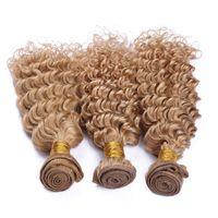 딥 웨이브 말레이시아 인간의 머리카락 # 27 허니 블론드 위브 번들 더블 위사 딸기 금발 말레이시아 헤어 익스텐션 딥 컬리 웨이브