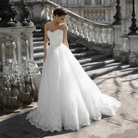 Sexy Prinzessin A-Line von der Schulter abnehmbare halbe Ärmeln Hochzeitskleid Perlen Schärpe Applique Lace Saum Brautkleid Vestido