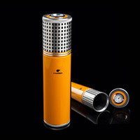 COHIBA Yellow Aluminium Alloy Cigar Jar Tube Humidor W  Humi...