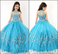 Rachel Allan Perfect Angles Girls Pageant Abiti 2016 Turquoise Halter Neck con strass Corset Ruffles Tulle Child Party Gowns 1570