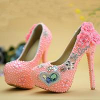 ブルーダイヤモンドピンクパールハイヒールの結婚式の靴アダルト式パーティーボールシューズ新しいデザイナーラインストーン卒業プロムポンプ