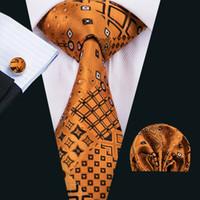 Moda uomo cravatta Classci seta mens cravatte cravatta oro cravatta cravatta Hanky gemelli set jacquard tessuto riunione d'affari regalo della festa nuziale N-1517