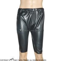 Черные сексуальные латексные длинные ноги боксер шорты коротки с эластичной полосой резиновые трусики брюки дна 0085