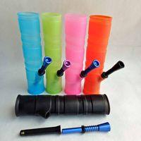 Tragbare Shisha Silikon Wasserrohre für das Rauchen Dry Herb Unbreakable Wasser Percolator Bongs Öl-Konzentrat aus Holz Metall-Kunststoffrohr