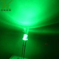 1000pcs 3mm grüne flache Oberseite LED-Licht-Lampe führte Dioden 3mm flache Spitzen-ultra helle Weitwinkel-LED-freies Verschiffen